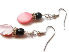 Dark Pink Earrings Pink Shell Earrings Pink Black by chicagolandia, $13.00