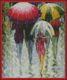 Rainy Day- Counted Needle Point and Cross Stitch Chart Patterns Cross Art, Cross Stitch Love, Cross Stitch Borders, Modern Cross Stitch, Counted Cross Stitch Patterns, Cross Stitching, Cross Stitch Embroidery, Circle Quilt Patterns, Circle Quilts