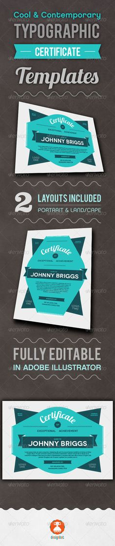 Buy Typographic Certificate 2 by thedesignbot on GraphicRiver. This certificate is in a modern typographical style for something a bit different than the usual traditional style. Create Certificate, Award Certificates, Certificate Design, Certificate Templates, Layout Design, Print Design, Web Design, Graphic Design, Design Ideas