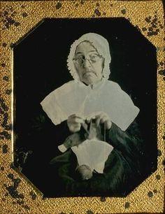 Elderly Woman knitting -  early-1850s