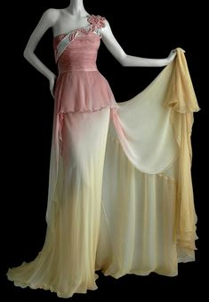 Vintage Valentino gown. Rose to ivory to cream silk chiffon. The link doesn't go anywhere, so I don't have a date, but the dress was to beautiful not to pin. I'd say it's probably form the early 1990s.