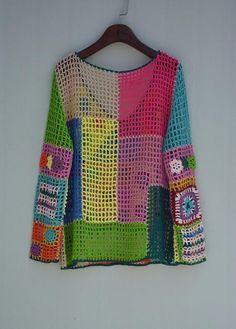 Boho ganchillo suéter manga larga Boho mujeres Top – Crochet and Knitting Patterns Crochet Bodycon Dresses, Black Crochet Dress, Crochet Blouse, Crochet Shawl, Crochet Afghans, Crochet Motif, Boho Crochet, Pull Crochet, Knit Crochet