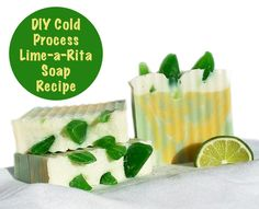 """Inspired by the festive Margarita drink Shelby created this Lime-a-Rita homemade soap recipe detailed with """"lime"""" wedges and sprinkled with coarse sea salt!"""