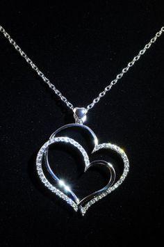 Wedding Bridal Jewellery Long Heart Necklace Swarvoski Crystal Bridesmaids Gift