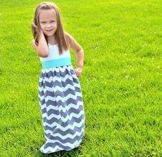 NEW Gray Chevron Tank Top Maxi Dress with Spearmint Sash - Girls' Chevron Dress - Baby Grey and Mint Chevron Maxi