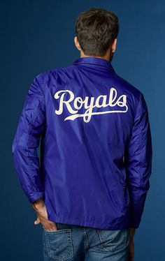 """Pride in every stitch. Kansas City fans can show their team spirit in this """"royal"""" blue Coaches Jacket from our new Levi's x MLB Collection. Levis Jeans, Denim, Look Cool, Style Icons, Bomber Jacket, Sweatshirts, Boys, Casual, Sweatshirt"""