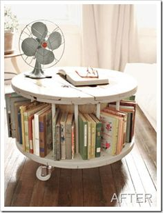 Book holder out of old wooden spool! MUST do this!
