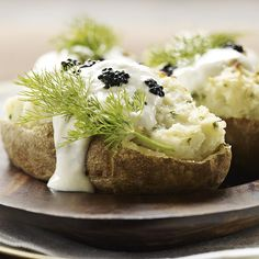 Twice-baked potatoes get an elegant treatment when spiked with horseradish and topped with a bit of caviar. If oven space is limited, these can be made in the microwave. Baked Lobster Tails, Horseradish Recipes, Caviar Recipes, Small Baking Dish, Twice Baked Potatoes, Healthy Vegetables, Veggies