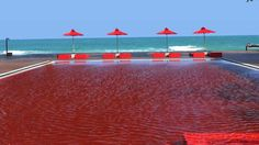 This extraordinary red pool is located on the eastern Thailand island of Koh Samui. It can be found at boutique hotel The Library and the vibrant colour comes from red tiles which line the pool Hotel Swimming Pool, Amazing Swimming Pools, Hotel Pool, Insane Pools, Awesome Pools, Pool Spa, Beautiful Pools, Beautiful Places, Amazing Places