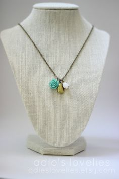 Vintage Locket & Stone with Rose Cabochon by adieslovelies on Etsy, $17.99