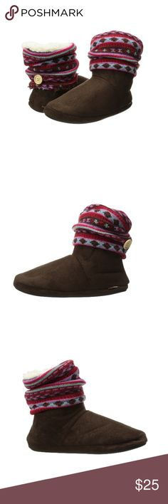 Muk Luks Knit Bootie Muk Luks brown bootie with knit leg warmer cuff and fabric sole. Shaft measures approx 6 in. from arch and boot opening measures approx 14 in. around. NWOT, size small (for sizes 5-6). Muk Luks Shoes Ankle Boots & Booties