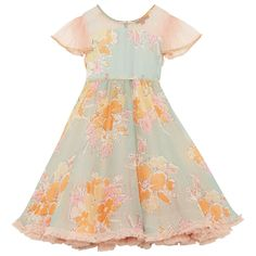 One of our most popular party styles, this chiffon rose print party dress has contrasting net neck and sleeve with fine bead and lurex trim detailing. Full, flouncy and a lot of fun to wear. Pretty Kids, Girls Dresses, Flower Girl Dresses, Pantone Color, Party Fashion, Party Dress, Wedding Day, Chiffon, Short Sleeve Dresses