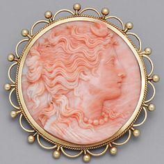 Victorian Coral Cameo BroochVictorian Coral Cameo Brooch