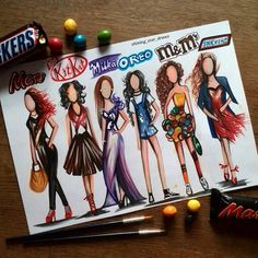 Mars, Kit Kat, Milka, Oreo, M & Ms & Snickers (Fashion by Shining_Star_Draws 😊 … – Fashion Girl Cute Disney Drawings, Kawaii Drawings, Cool Art Drawings, Art Drawings Sketches, Demon Drawings, Fashion Design Drawings, Fashion Sketches, Drawing Fashion, Social Media Art