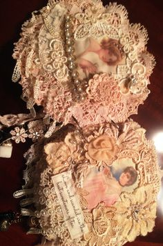 Sweet idea for doily journal or mini book - love the combination of vintage lady images, laces and trims! :)