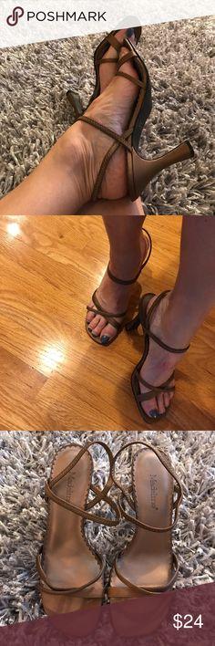 Madeline Women's Strappy Heels 7 SALLY Bronze EUC 5️⃣  ⭐️️gorgeous sexy summer heels  ⭐️️size 7  ⭐️️a few marks on Heels  ⭐️️slight wear on bottom & inside of shoe ⭐️️060317-7 🚫trades please madeline Shoes Heels