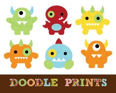 Digital Scrapbook Clip Art Printable - Monster clipart - Cute Monsters Design - Personal Use Only on Etsy, $5.00