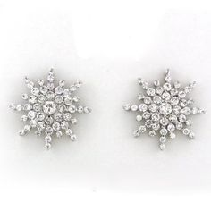 65ce9ec6dde473 CZ Crystal Snowflake Rhodium Plated Brass Stud Earring. Artune Jewelry  Online