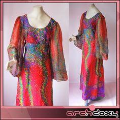 Vintage 1970s Angel Sleeve Empire Flared Star Burst Pink Chiffon Maxi Dress #boho #hippie  http://www.ebay.co.uk/itm/Error?item=371657668797&errid=2
