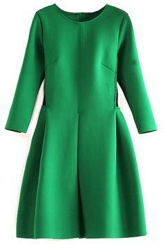 Grünes Langarm Maschenkleid-Sheinside