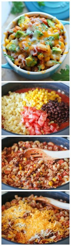 One Pot Mexican Skillet Pasta Recipe. This looks so darn good can't wait to put it in my mouth. Love Mexican and Tex-Mex foods.