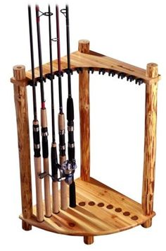 Log Cabin Style Corner Rod Rack Fishing Lures Tackle Box Saltwater Storage Pine #RushCreek