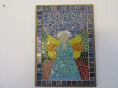 Quadro Anjo Feito com pastilha de Cristal e Madre Pérola. Tamanho 36 x 26 cm... Visite minha loja na Elo7.