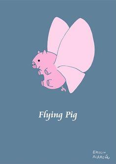 Flying pig. Cerdo volante. Illustration by Emilio Alarcón.