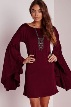 Fashion Simple Color Flare Sleeve Dress