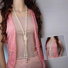 Fashion Jewellery Women Lady White Artificial Pearls Long Sweater Chain Charms Necklace $4.99 at ZYN on Amazon - http://www.amazon.com/dp/B019F85Y4E/ref=cm_sw_r_pi_dp_jLZUwb0QXQAE9