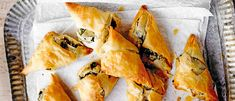 Try our filo parcels recipe filled with spinach, feta and onion. These vegetarian filo parcels make a great, simple starter for a vegetarian dinner party Lemon Recipes, Greek Recipes, Veggie Recipes, Veggie Food, Veggie Dinner, Savoury Recipes, Food Food, Eastern European Recipes, Middle Eastern Recipes