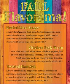 September 2013 Specials #fall #flavor