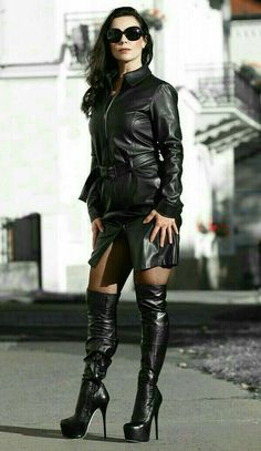 Long Nails — best-of-high-boots: . Long Leather Coat, High Leather Boots, Biker Leather, Leather And Lace, High Boots, Sexy Boots, Sexy Heels, Womens Gothic Boots, Leder Outfits