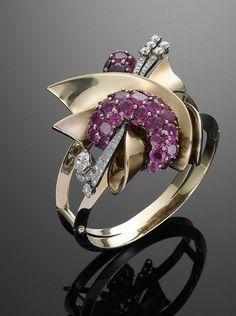 Bracelet | Designer ?.  14k Rose gold, Ruby and Diamond.  c. 1940s