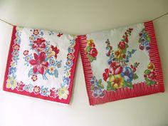 Vintage Tea Towels Fruit Flowers Plaid by PassedBy on Etsy, $18.00