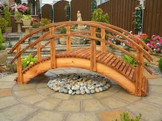 There are many uses for a wooden garden bridge which will instantly enhance the beauty of your pond or garden. Pond Bridge, Garden Bridge, Ponds Backyard, Backyard Landscaping, Backyard Waterfalls, Garden Ponds, Koi Ponds, Casa Retro, Pond Design