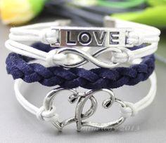 Love bracelet & infinity bracelet,double peach heart bracelet,karma bracelet-White wax rope,navy blue woven leather on Etsy, $4.99