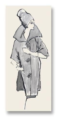 Taylor Notecard vintage fashion illustration by my late mom, Hilda Glasgow $5