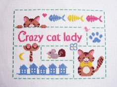 Crazy cat lady cross stitch | Flickr