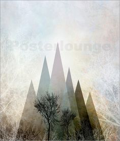 Pia Schneider atelier COLOUR-VISION - TREES IV #kunst #poster #kunstdrucke #piaschneider #ateliercolourvision #posterlounge #ebay #amazon #art #trees #bäume #natur #triangles #geometric #branches #abstract