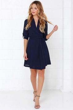 robe col V -bleu marine -French SheIn(Sheinside) Wrap Dress Outfit, Dress Outfits, Casual Dresses, Short Dresses, Dress Long, Long Skirts, Women's Dresses, Cheap Dresses, Dresses Online