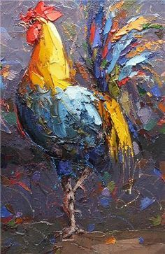 The artist was born in 1959 in Elazığ. He met French art historian Didier Vacher in 1989 at Beyoğlu. Art Gallery and by Didier's interest and help , S.Dursun did atelier work between the years both in İstanbul and France. Rooster Painting, Rooster Art, Chicken Painting, Chicken Art, Farm Art, French Art, Animal Paintings, Painting Inspiration, Painting & Drawing
