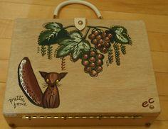 Vintage ENID COLLINS WOOD BOX PURSE 1962 Pretty Foxie