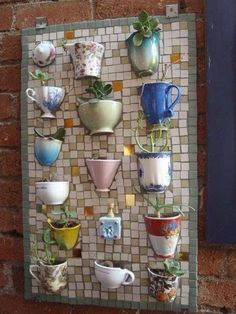 mosaic board with half-teacups/coffee mugs - to plant succulents and/or herbs - unique garden decor! Teacup Mosaic, Teacups, Coffee Mugs, Coffee Shop, Coffee Garden Crafts, Garden Projects, Home Crafts, Diy Projects, Diy Crafts, Garden Ideas, Recycled Crafts, Auction Projects, Recycled Garden