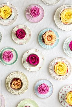 Vintage teacups and roses by Ruth Black