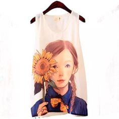 "FLOWER GIRL TANK TOP Sunflower girl. How adorable is she. Wear this with slim bottoms and barely there sandals. Small dainty jewelry. Violet days wear flats and a cardi and you're still Fab! 18"" bust. 25"" length. 100% polyester. -No trades. Tops Tank Tops"
