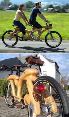 From the world's tallest bike, to another made entirely out of wood, some seriously cool bikes. (cool bikes, very cool bikes) Wooden Bicycle, Wood Bike, Tandem Bicycle, Retro Bicycle, Bicycle Art, Bicycle Design, Bike Chain, Bike Wheel, Cool Bicycles