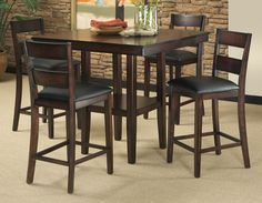 padded barstools, pub-style/bar-height dining table