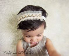 Creamy/Ivory Lace Beaded with Pearl Baby by babyScarlettBoutique, $10.99