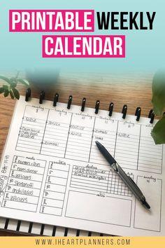 Free Printable Weekly Calendar, Diy Calendar, Printable Planner, Printables, Planner Template, Blog Planner, Planner Pages, Weekly Planner, Arc Planner